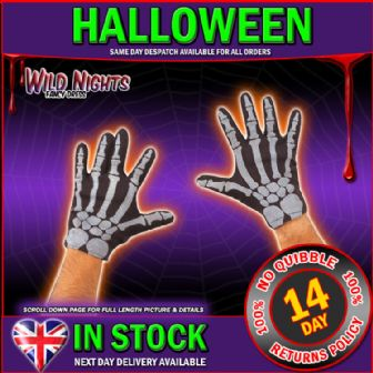 HALLOWEEN FANCY DRESS ~  ADULT SKELETON GLOVES